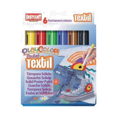 Farbki w sztyfcie TEXTIL POCKET Playcolor Instant do tkanin 6 kol.